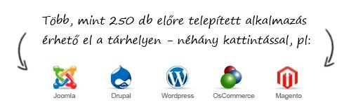 250 előre telepített alkalmazás a webtárhelyeden
